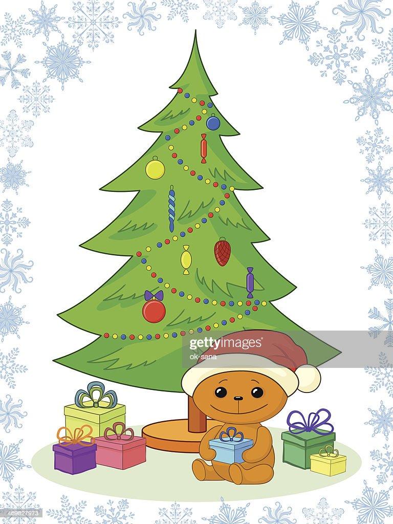 Teddy bear, gifts and Christmas tree