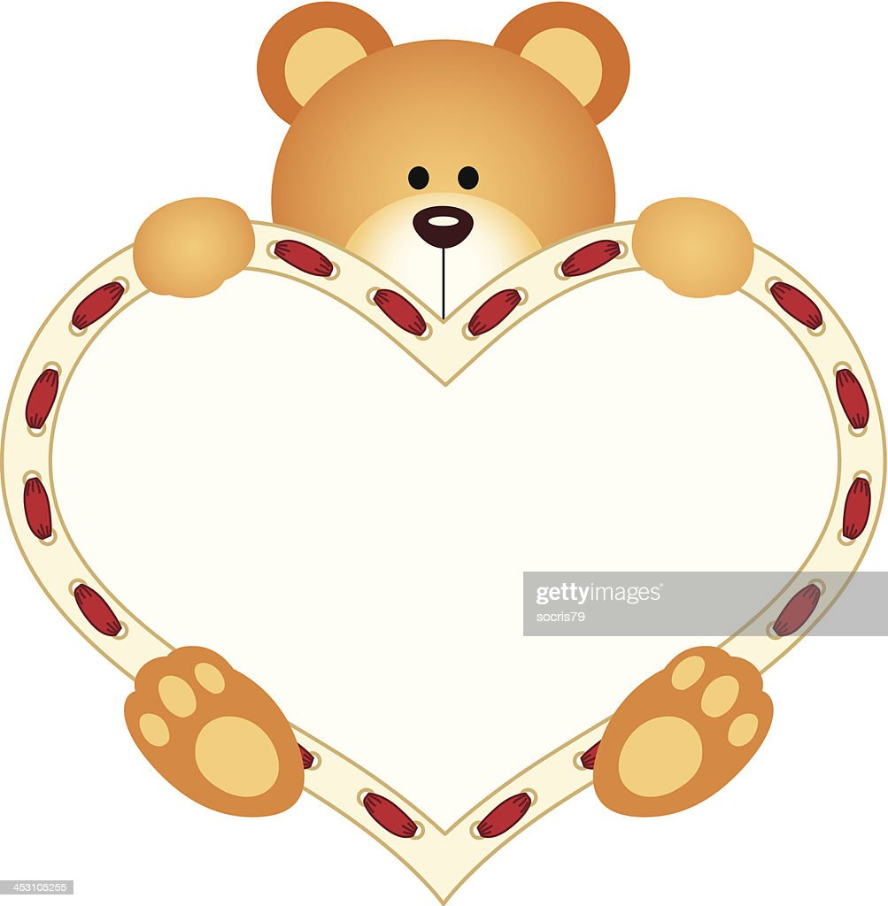 Teddy Bear Holding Blank Heart Vector Art Getty Images