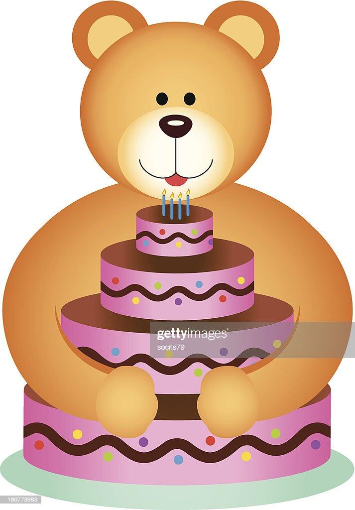 Teddy Bear Hugging Birthday Cake Vector Art Getty Images