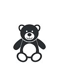 Teddy bear icon character isolated on white background. Soft toy icon