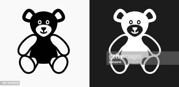 Teddy Bear Icon on Black and White Vector Backgrounds