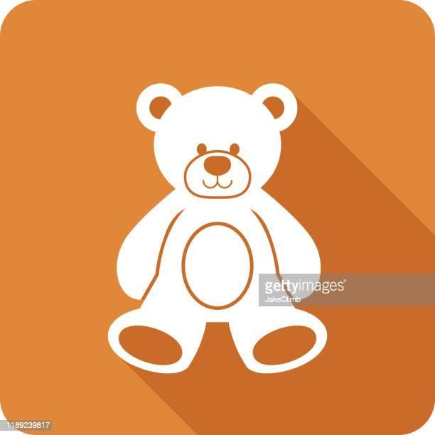 ilustraciones, imágenes clip art, dibujos animados e iconos de stock de teddy bear icon silhouette - osito de peluche