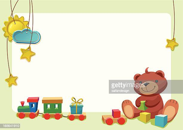 teddy  bear playing with toys - miniature train stock illustrations, clip art, cartoons, & icons