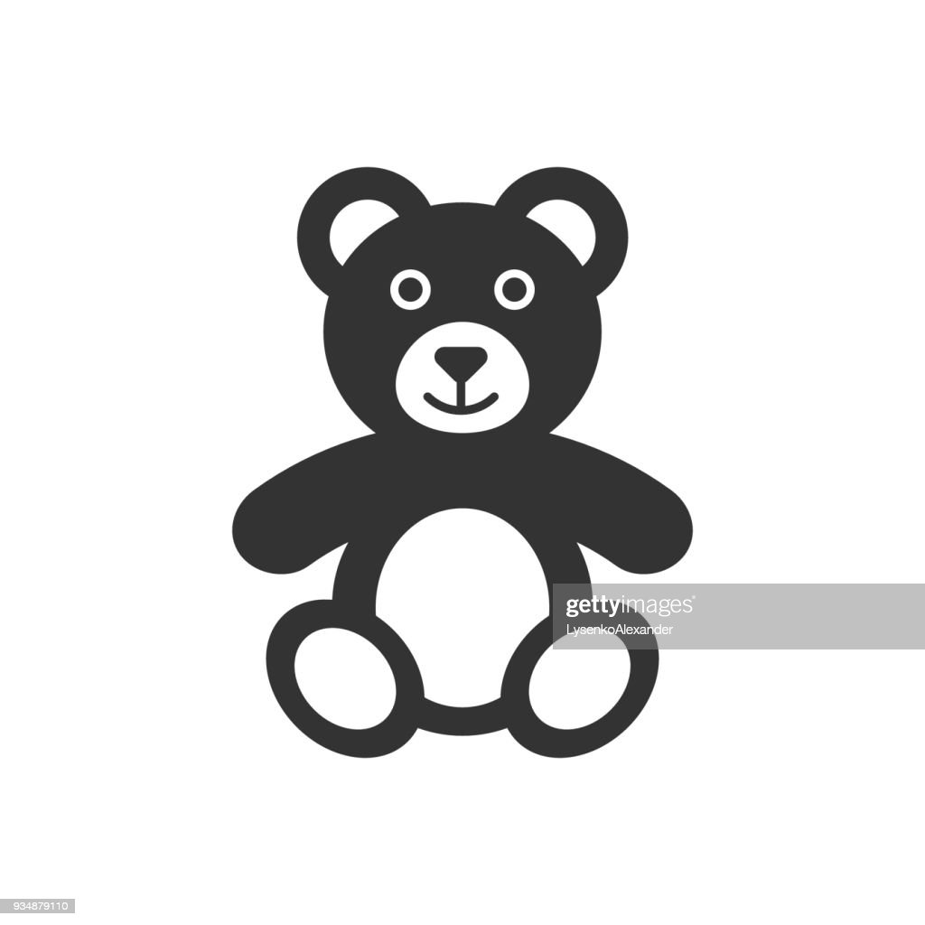 Teddy bear plush toy icon. Vector illustration. Business concept bear pictogram.