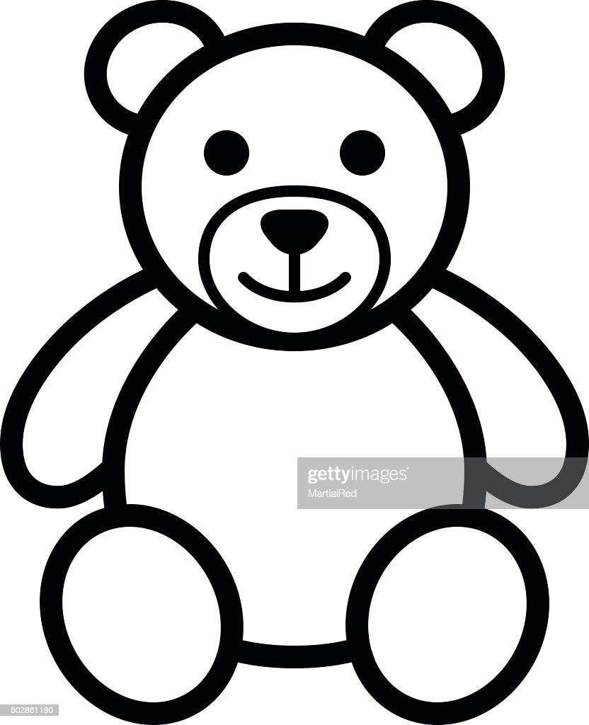Teddy bear plush toy line art icon illustration