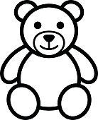 Teddy bear plush toy line art icon illustration