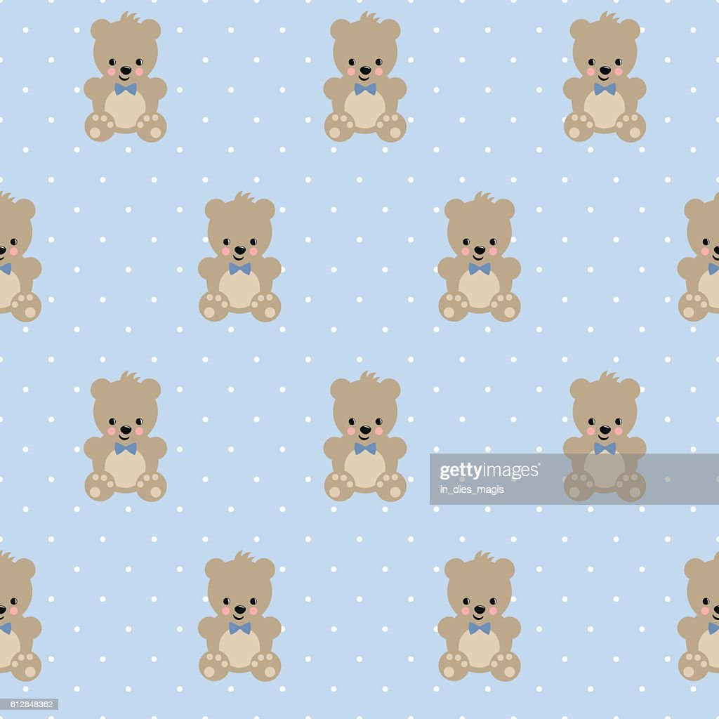 Teddy Bear Seamless Pattern On Baby Blue Polka Dots Background Stock