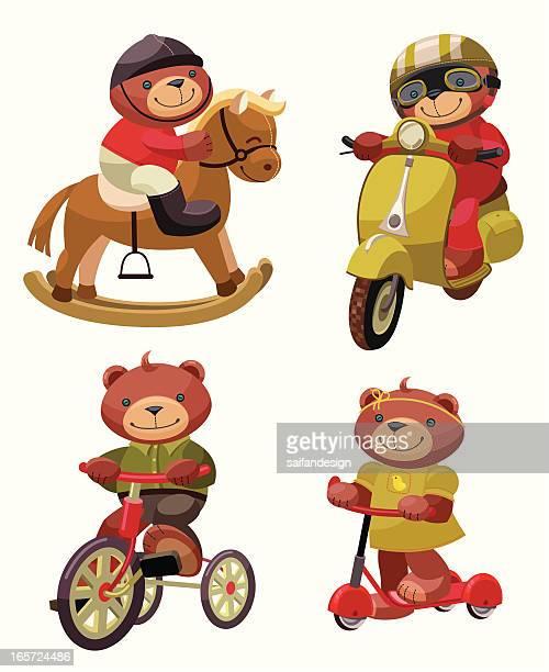teddy bear series: happy journey! - moped stock illustrations, clip art, cartoons, & icons