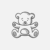 Teddy bear sketch icon