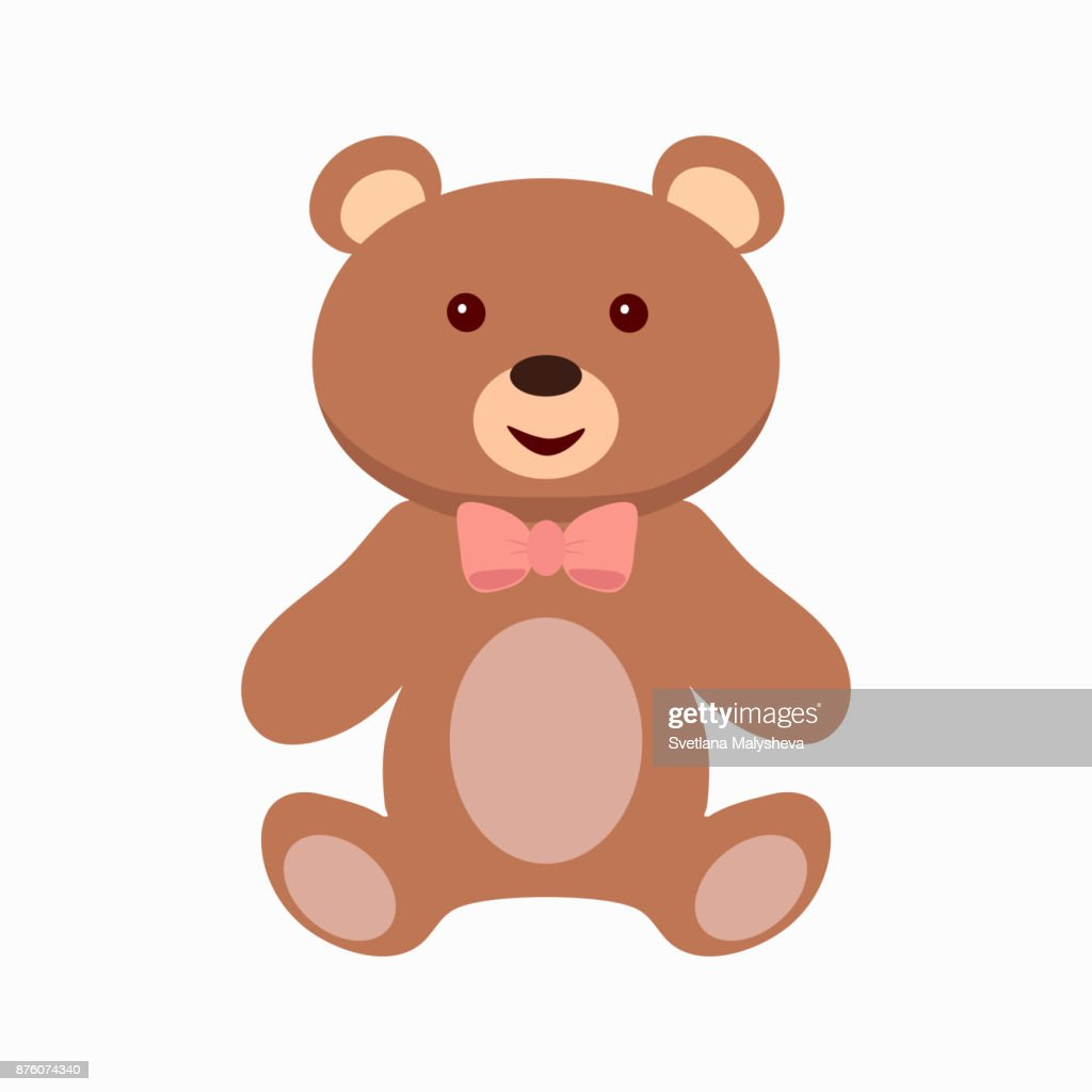 teddy bear toy flat icon vector art getty images