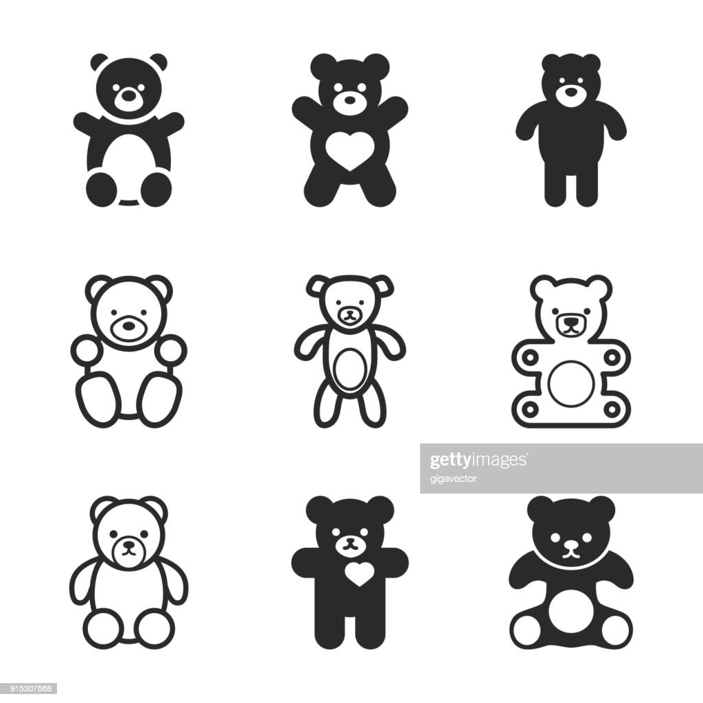 Teddy bear vector icons.