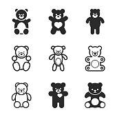 Teddy bear vector icons.