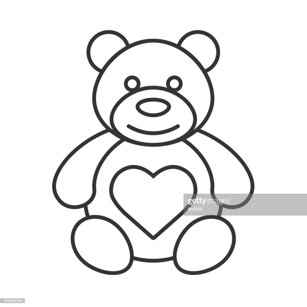 Teddy bear with heart shape icon