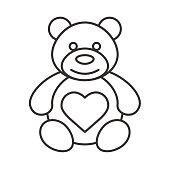 Teddy bear with heart shape icon