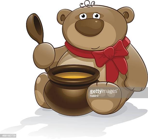 Urso de Pelúcia com pote de mel