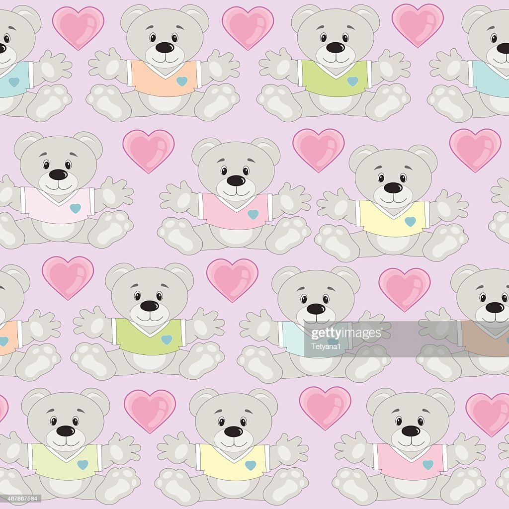 teddy bears multicolor seamless pattern