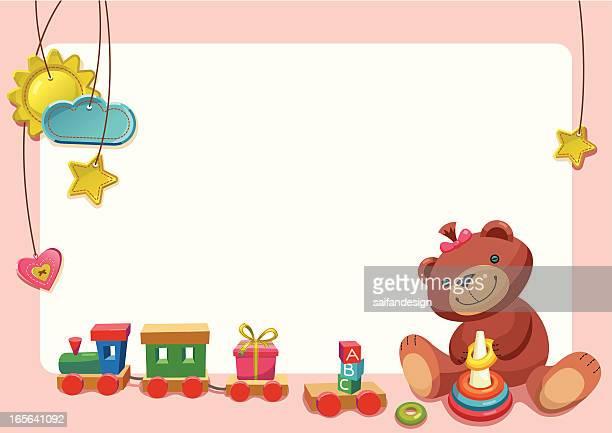 ilustraciones, imágenes clip art, dibujos animados e iconos de stock de chica jugando con juguetes de peluche. - osito de peluche