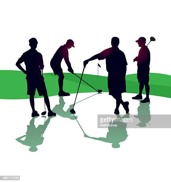 illustrations, cliparts, dessins animés et icônes de équipe de golf - quatre personnes