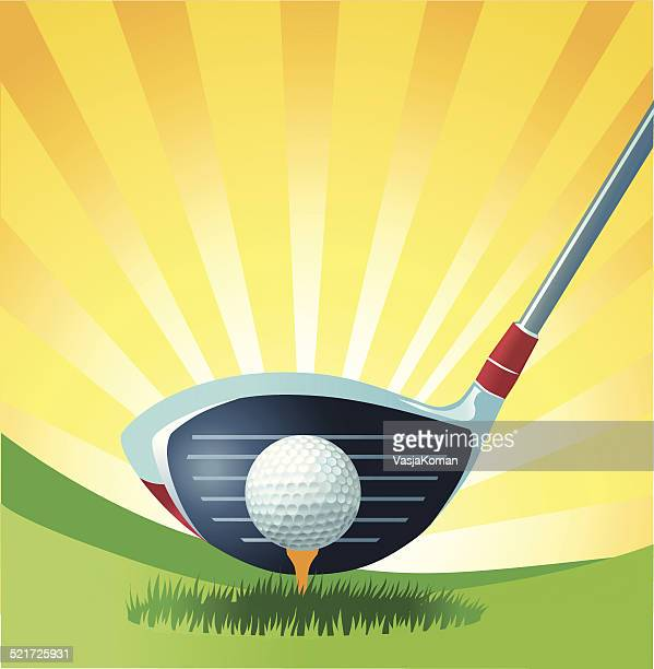 teeing off with golf driver - teeing off stock illustrations, clip art, cartoons, & icons