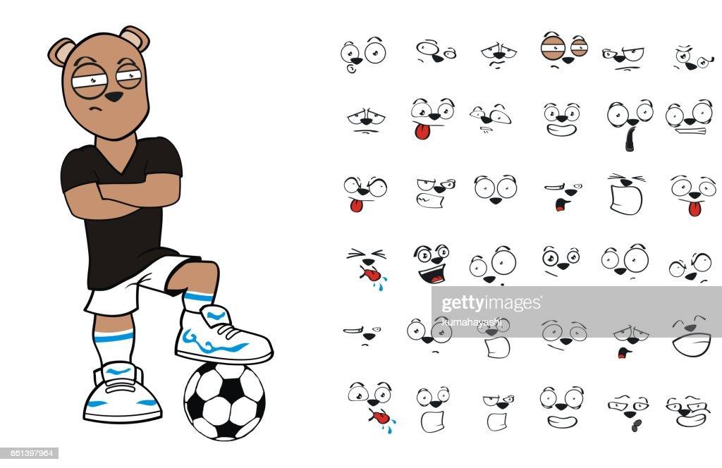 teen bear soccer cartoon expressions set5