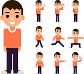 Teen Boy in Different Poses and Actions Characters Icons Set Isolated Flat Design Vector Illustration