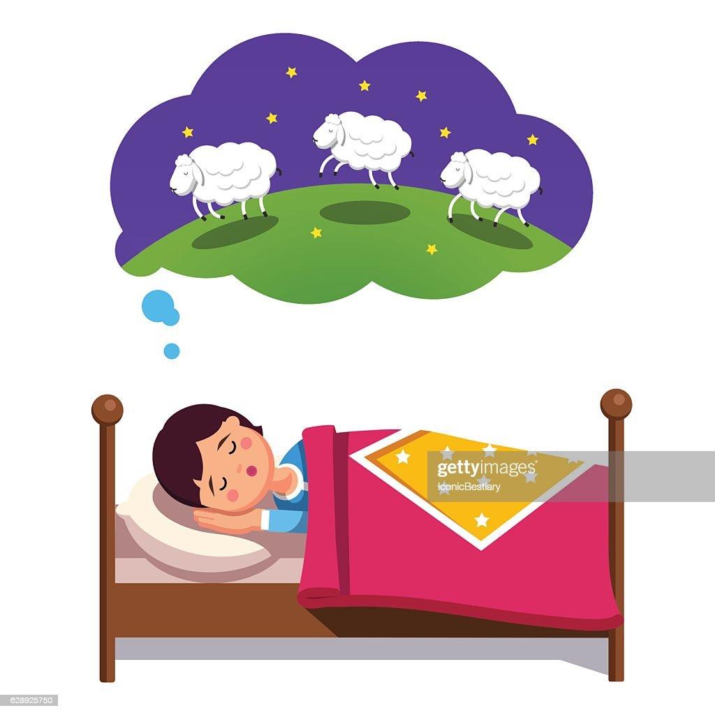 Teen boy trying to sleep counting jumping sheep
