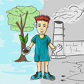teen boy_1_ holds in his hands a small plant on the background of nature and industrial building
