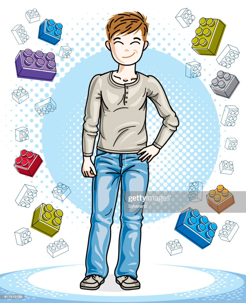 Teen cute little boy standing wearing fashionable casual clothes. Vector kid illustration. Childhood lifestyle cartoon.