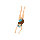 Teen girl dived into water. Kid in blue swimwear and diving mask. Active recreation and snorkeling theme. Flat vector design