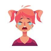 Teen girl face, crying facial expression