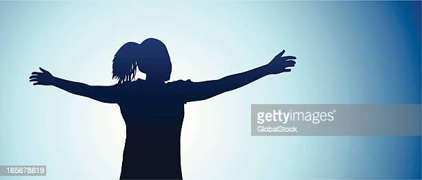 Teen girl feeling free