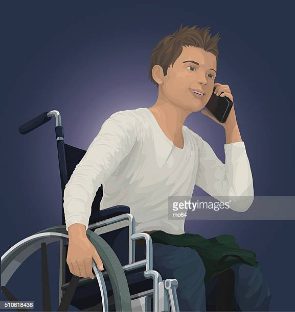 teen in wheelchair - paralysis stock illustrations, clip art, cartoons, & icons