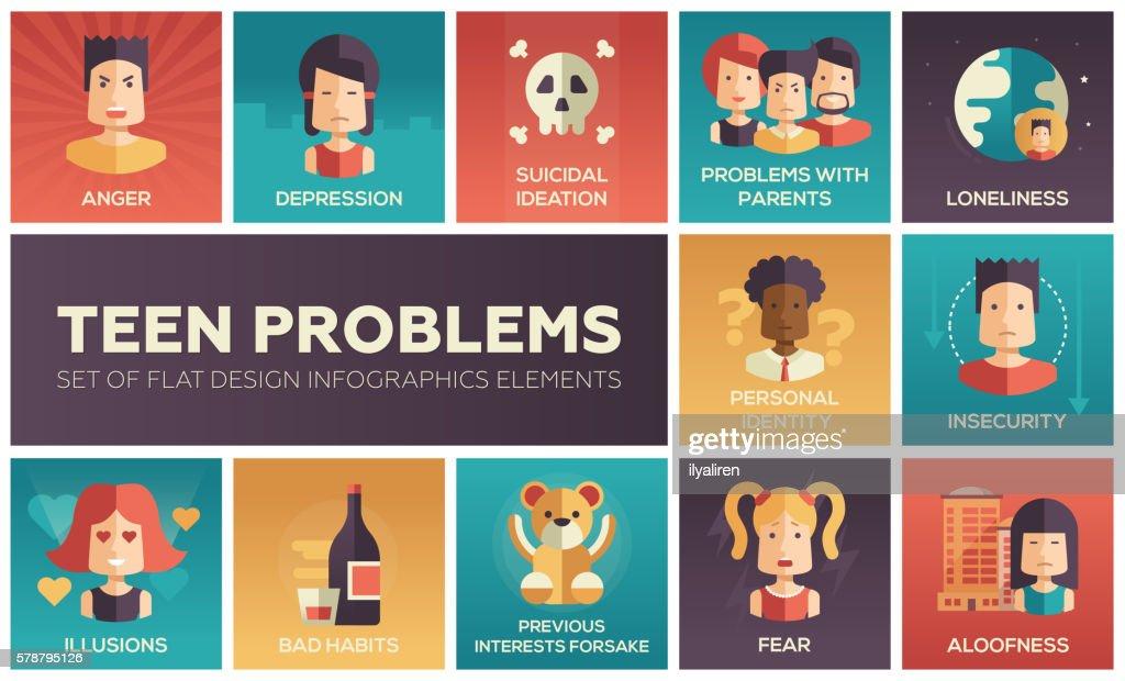 Teen problems- flat design icons set