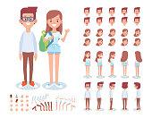 Teenage boy and girl creation set. Vector cartoon characters for animation