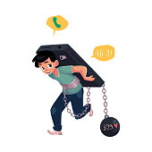 Teenage boy chained to huge smartphone on his back