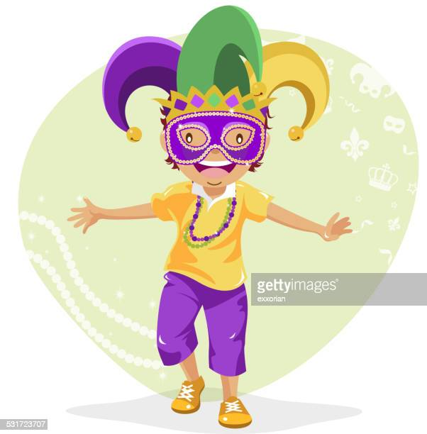 teenage boy dressing up for mardi gras - jester's hat stock illustrations, clip art, cartoons, & icons
