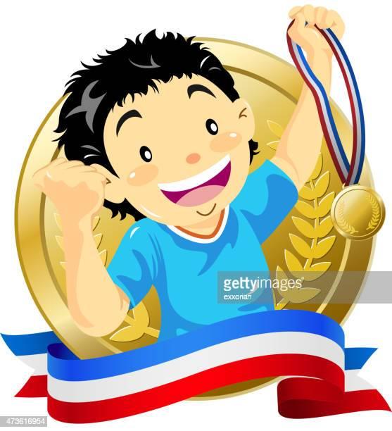 Teenage boy holding up a golden medal wtih banner