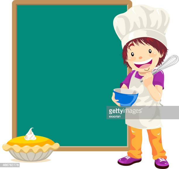 teenage boy pastry chef with menu - pastry dough stock illustrations, clip art, cartoons, & icons