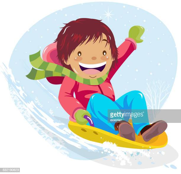 teenage boy sledding in winter - tobogganing stock illustrations, clip art, cartoons, & icons