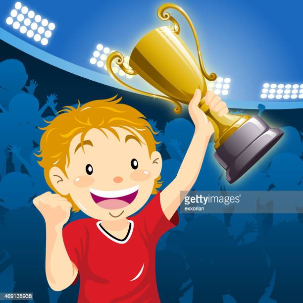 teenage boy winner holding up the trophy at the stadium - pep rally stock illustrations, clip art, cartoons, & icons