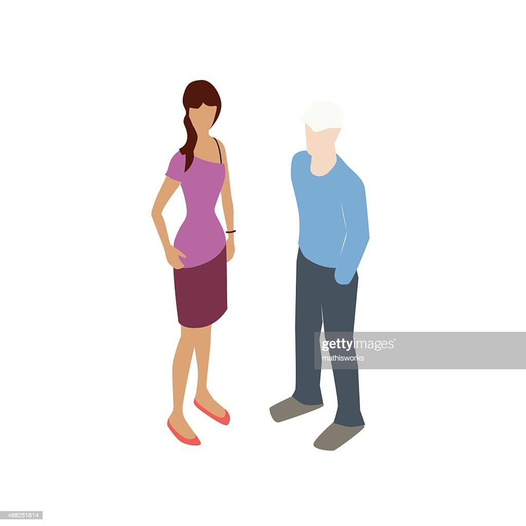 Teenage couple illustration