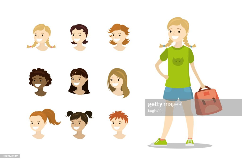 Teenage girl and template multicultural heads