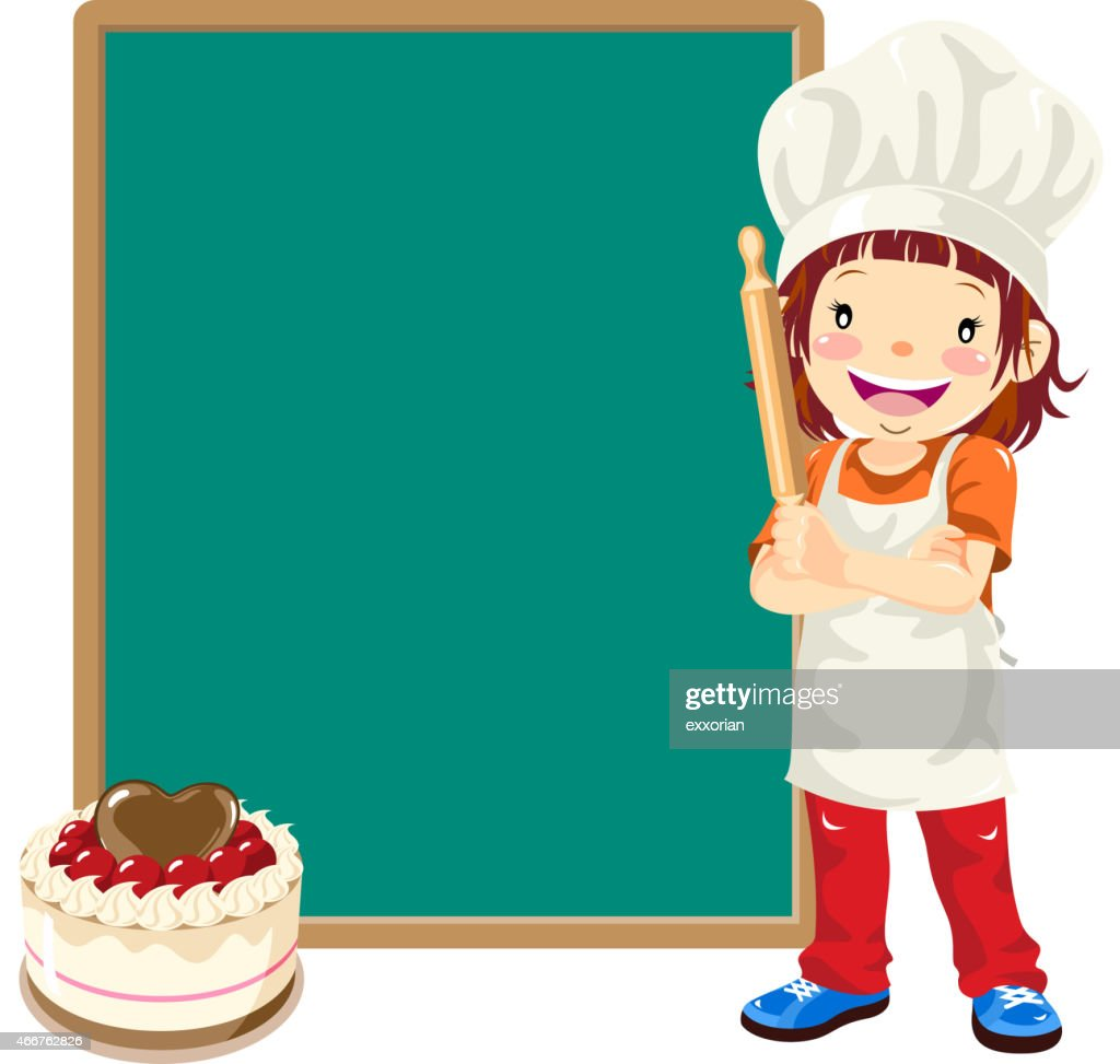 Teenage Girl Cake Chef with Menu