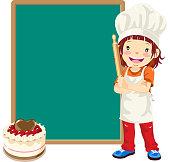 Teenage Girl Cake Chef with Menu