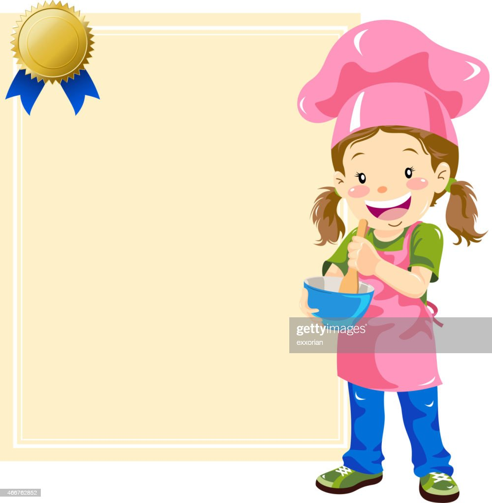 Teenage Girl Chef with Certificate