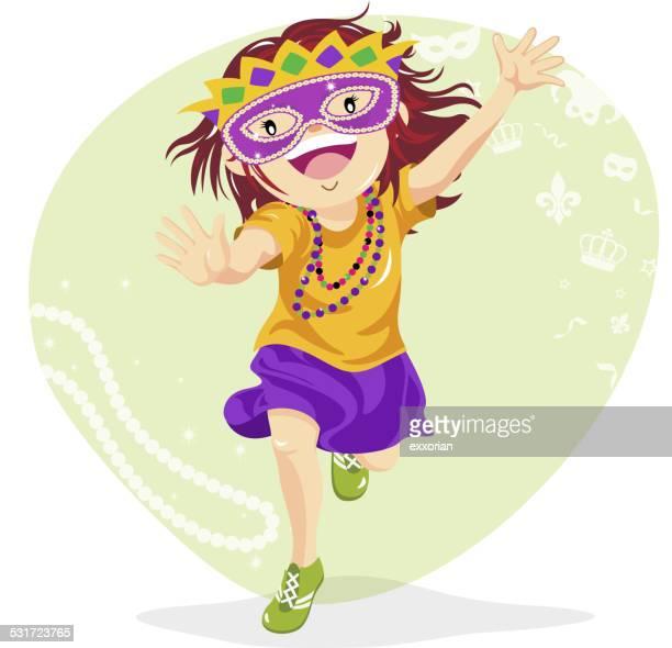 Teenage Girl Dressing Up for Mardi Gras