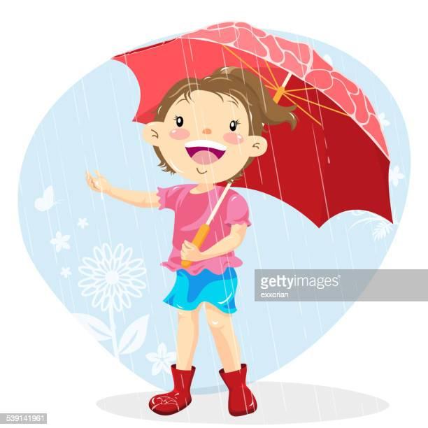 Teenage Girl Holding Umbrella on a Rainy Day