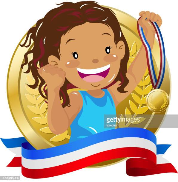 Teenage girl holding up a golden medal with banner