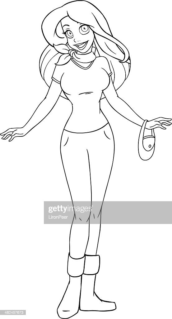 Teenage Girl In Tshirt And Pants Coloring Page Vector Art Getty Images