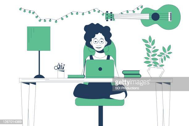 teenage girl learns from home during covid-19 - teenagers only stock illustrations